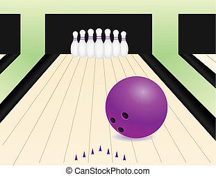 bowling alley with the ball and pins