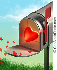 Sending love - Opened mailbox contains a glowing heart....