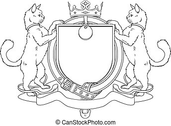 Cat pets heraldic shield coat of arms. Notice the collar...