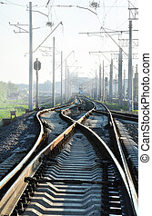 Rails and smog - The rails in different directions (in smog...