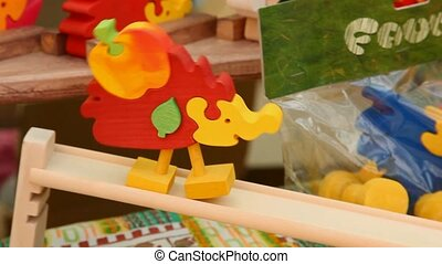 Wooden toy - Colorful wooden toy stepping down the slope