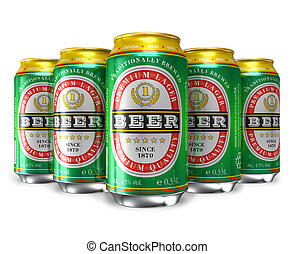 Set of beer cans isolated on white background