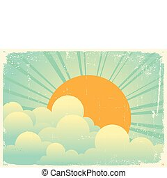 sky with beautifull clouds.Vector vintage cloudscape on old...