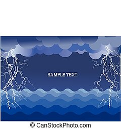 Storm in ocean with lightning strikes .Vector illustration background for text