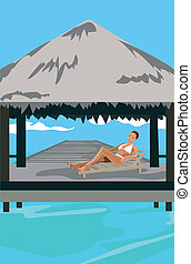 Vacation in the Tropics - Illustration of a woman at...
