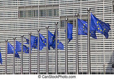 European Union Flags in Brussels - European Union flags in...