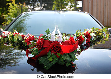 Wedding Car Decoration Of Two White Doves Holding Ring -...