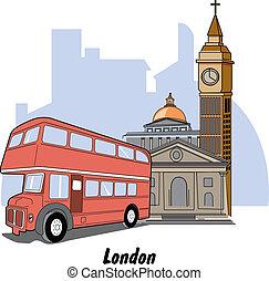 londres, inglaterra, grande, Ben, y, autobús