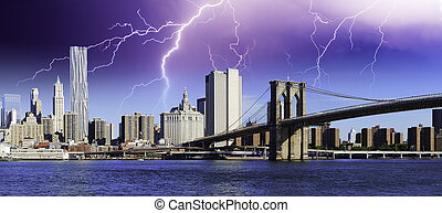 Storm over Brooklyn Bridge in New York City