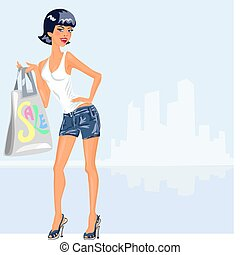 vector girl with purchases - young beautiful brunette woman...