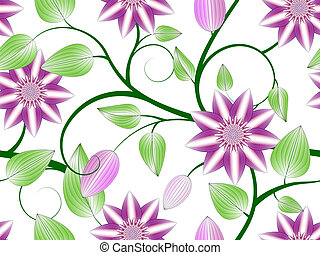 Flowers seamless pattern - Abstract pink clematis seamless...