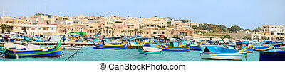 Marsaxlokk village in Malta - Panorama of Marsaxlokk village...