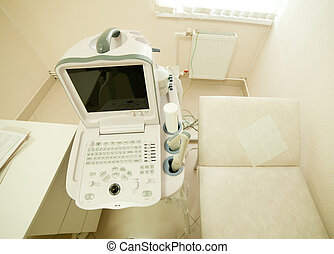 ultrasound equipment in medical clinic - Interior with...