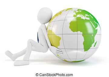 3d man pushing the earth globe