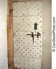 Medieval french studded wooden door - Medieval french wooden...
