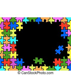 Puzzle background - Colorfull puzzle background with copy...