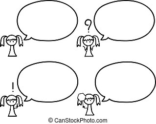 girl with speech bubbles