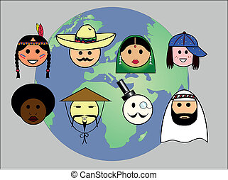 People worldwide - Different nationalities from all over the...