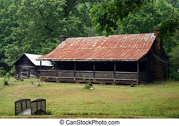 Old Country Log Cabin - Old log cabin nestled in the...