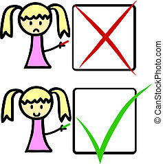 Cartoon character with check boxes