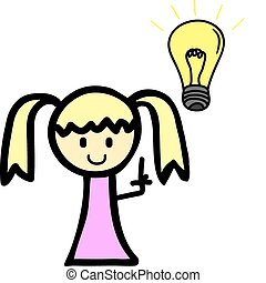 Girl with lighy bulb