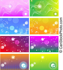 Business card templates, backgrounds - Colection of bright...