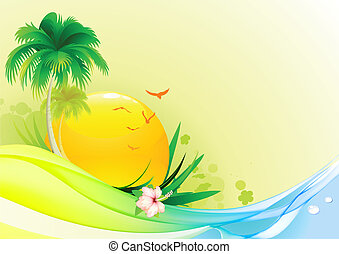 summer background - Vector illustration of funky summer...