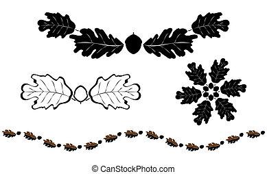 Oak silhouette elements - Oak leaf silhouette design element...