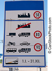 Speed limit and informations sign right at the border -...
