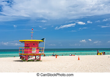 South Beach, Miami - Lifeguard stand, South Beach, Miami,...