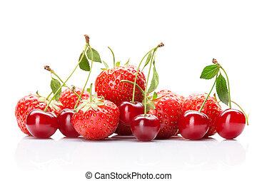 fraise, cerise, isolé, blanc