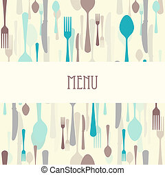 Dining menu with cutlery - Vector dining menu with cutlery