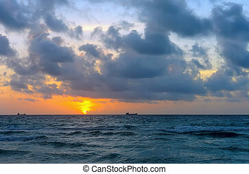 Sunrise, Atlantic ocean - Stormy sunrise, Atlantic ocean...