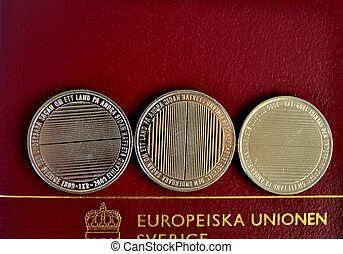 coins and passport - Swedish coins and passport from the...
