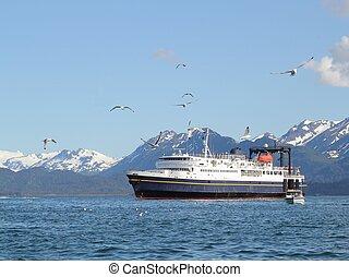 Natural de Alaska, transbordador, soleado, día