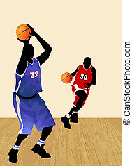 Basketball players  silhouettes, vector illustration