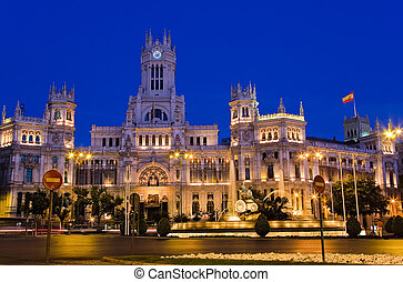 Madrid - Plaza de Cibeles at night, Madrid, Spain