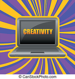 laptop in front view with word creativity