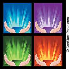 human hands praying on shining colorful background