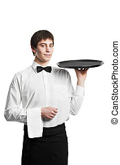 Waiter sommelier man with tray - Positive Waiter man with...