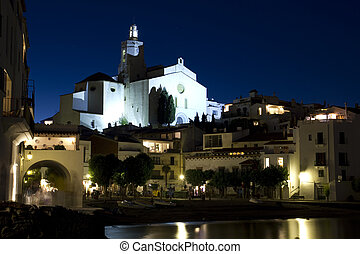 The Church of Cadaques lit at night - Cadaques, a small...