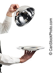 hands of waiter with cloche lid cover - Close up hands of...