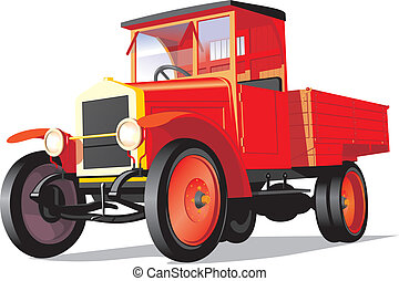Red retro truck - Vector isolated red heavy truck on white...