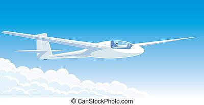 Glider in the sky - Vector illustration white glider flying...