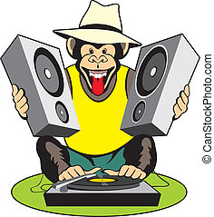 Monkey - music lover - Vector cartoon image monkey - music...