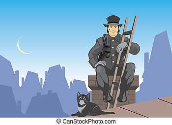 Chimney sweep and cat - Vector illustration chimney sweep...