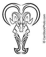 Aries vector black symbol, design element, tattoo pattern