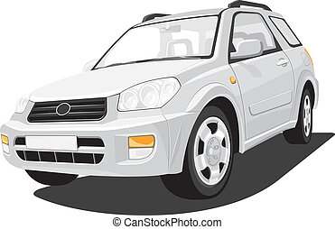 Sports Utility Vehicle - Vector isolated SUV on white...