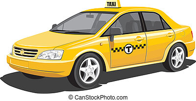 Taxi - Vector isolated taxi on white background, without...