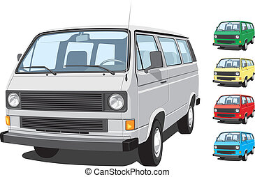 Mini van - Vector isolated mini van, passengers and cargo on...